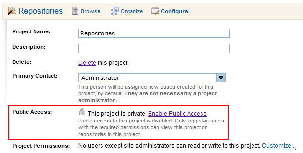 Project Configuration page