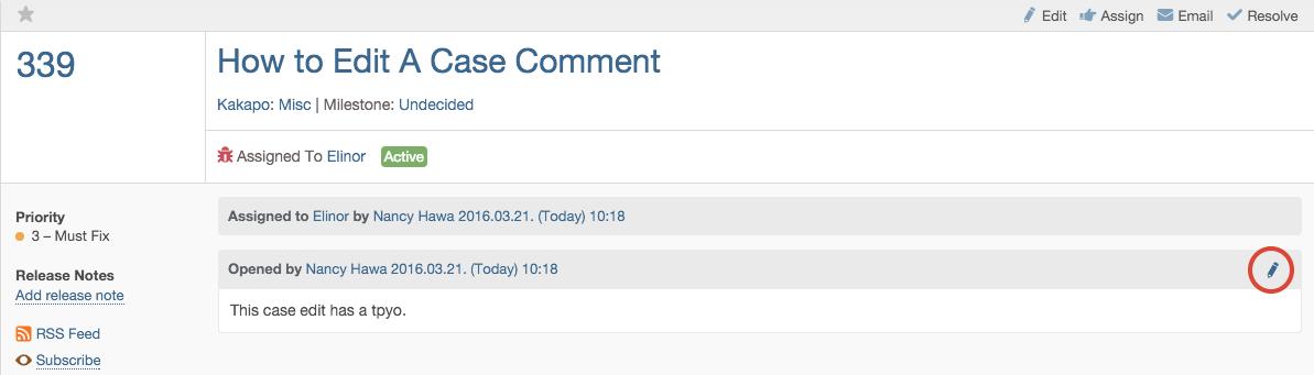 Case Comment Revision Screenshot